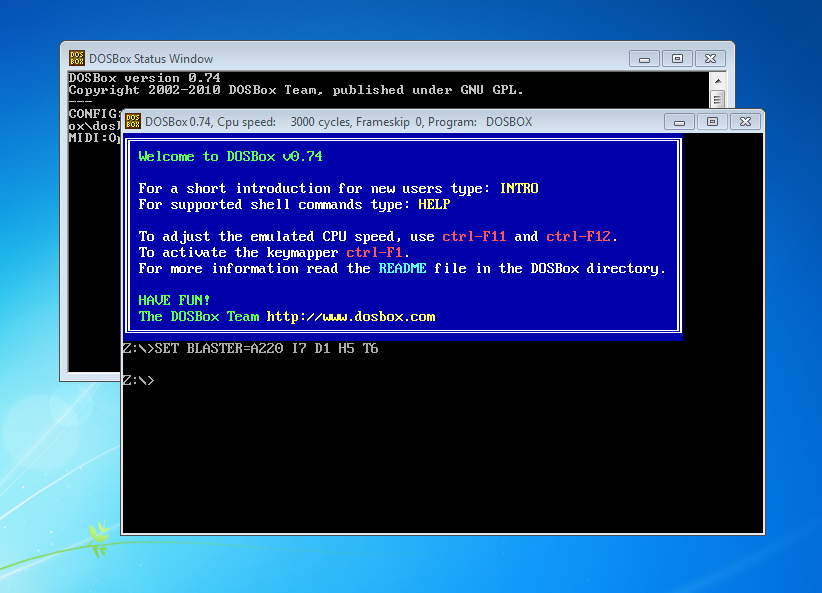 DOS emulated on DOSBOX