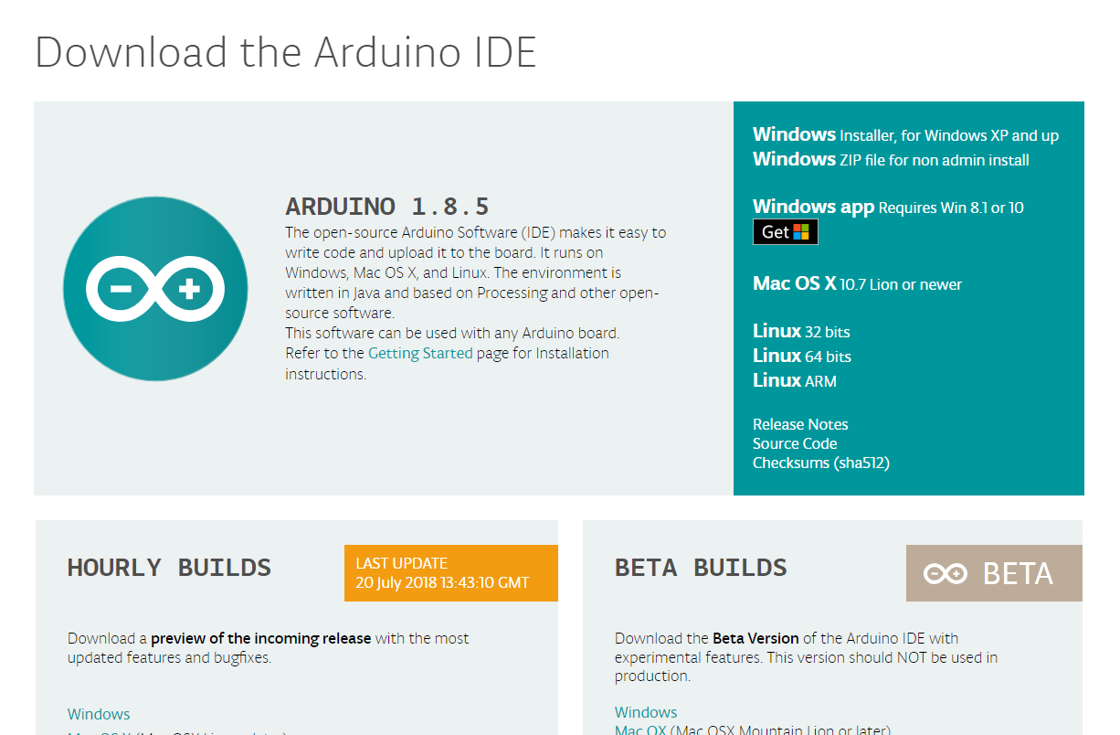 Arduino Official download page