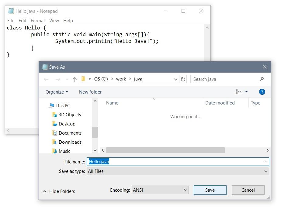 Java on Notepad