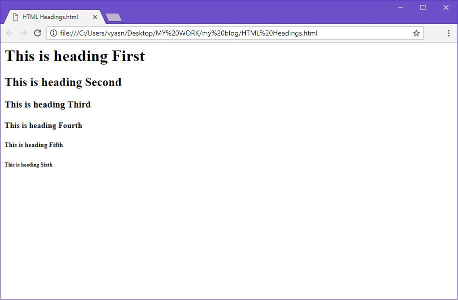 HTML heading example