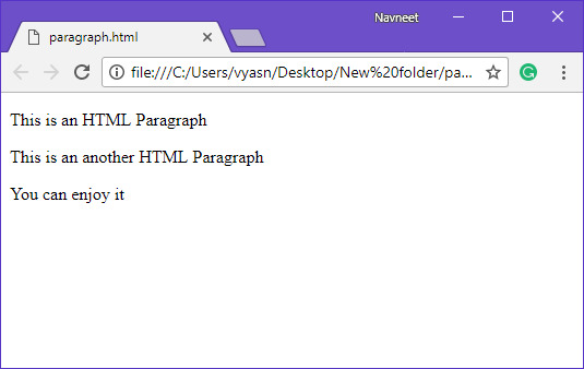 HTML multiple paragraph example