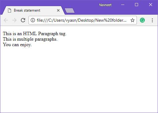 HTML break example